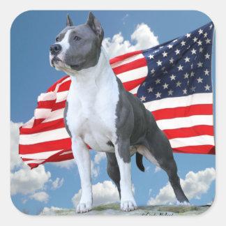 アメリカ(犬)スタッフォードテリア(ピット・ブル)のステッカー スクエアシール