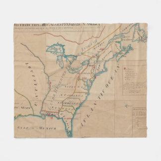 アメリカ(1766年)のイギリス力のヴィンテージの地図 フリースブランケット