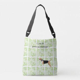 アメリカFoxhoundおよび緑のプリント[Med。] クロスボディバッグ