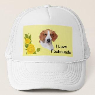 アメリカFoxhoundおよび黄色バラ キャップ