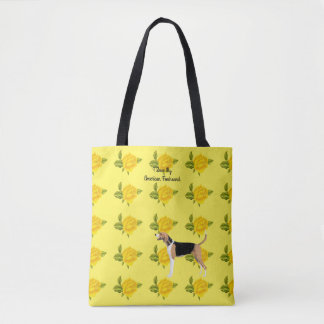 アメリカFoxhoundおよび黄色バラ トートバッグ