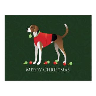 アメリカFoxhoundのクリスマス ポストカード