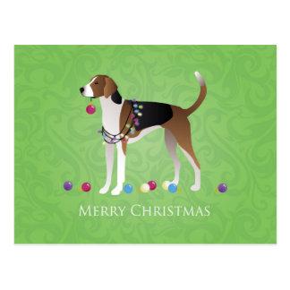 アメリカFoxhoundのクリスマス- Felizのいけない犬 ポストカード