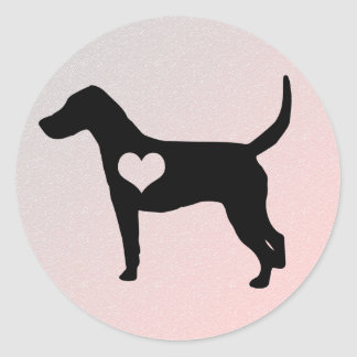 アメリカFoxhoundのハートのステッカー ラウンドシール