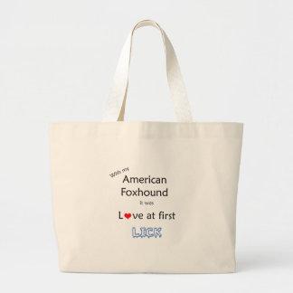 アメリカFoxhoundはデザインを舐めます ラージトートバッグ