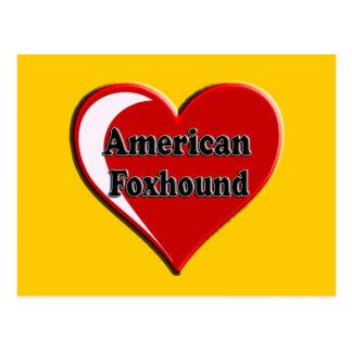 アメリカFoxhound犬のハート ポストカード