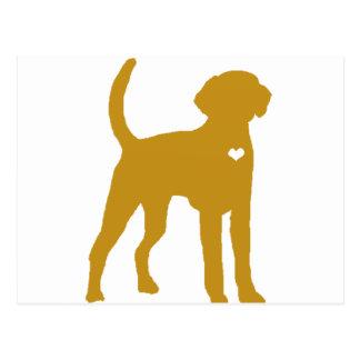 アメリカFoxhound犬のポップアートのハートのシルエット ポストカード