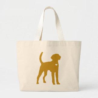 アメリカFoxhound犬のポップアートのハートのシルエット ラージトートバッグ