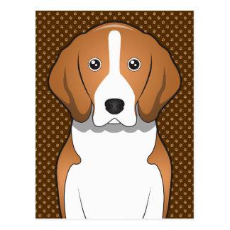 アメリカFoxhound犬の漫画の足 ポストカード