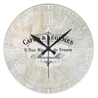 アヤメのカフェのヴィンテージプラスター ラージ壁時計