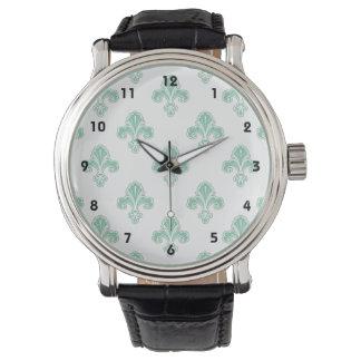 アヤメ、Seafoamの緑及び白 腕時計