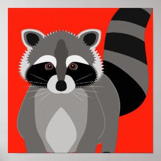 アライグマのごろつきポスターカスタムな背景色 ポスター