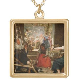 アラクネーの寓話、か紡績工、c.1657 (油 ゴールドプレートネックレス