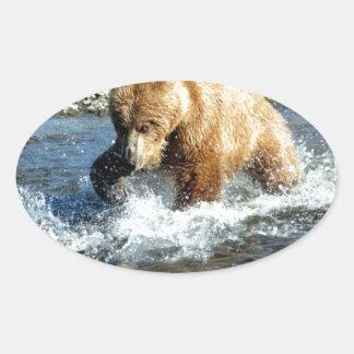 アラスカくま 楕円形シール