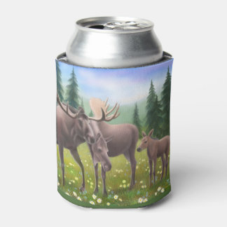 アラスカのアメリカヘラジカ家族のクーラーボックス 缶クーラー