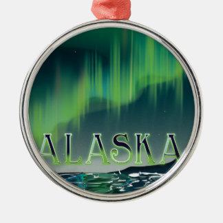アラスカのオーロラのヴィンテージ旅行ポスター メタルオーナメント