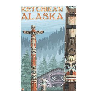 アラスカのトーテムポール- Ketchikan、アラスカ キャンバスプリント
