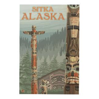 アラスカのトーテムポール- Sitka、アラスカ ウッドウォールアート