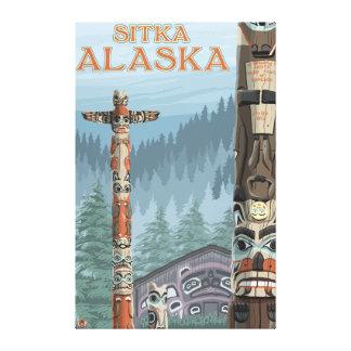 アラスカのトーテムポール- Sitka、アラスカ キャンバスプリント