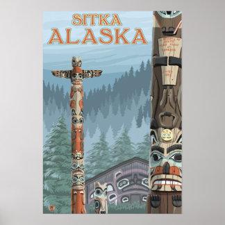 アラスカのトーテムポール- Sitka、アラスカ ポスター