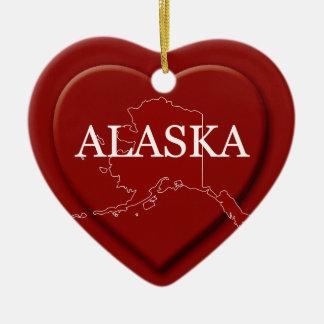 アラスカのハートの地図のクリスマスのオーナメント セラミックオーナメント