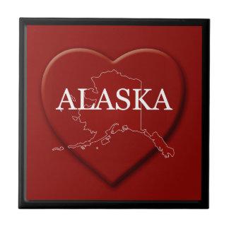アラスカのハートの地図のタイル 正方形タイル小