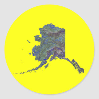 アラスカの地図のステッカー ラウンドシール