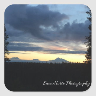 アラスカの山地の日没 スクエアシール