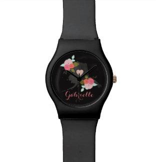 アラスカの州の水彩画の花柄及びハートのモノグラム 腕時計