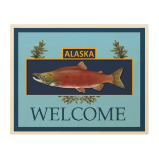アラスカの戦闘の漁師のバッジ-歓迎 ウッドウォールアート