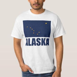 アラスカの旗の青の文字 Tシャツ