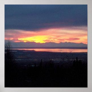 アラスカの日没ポスター ポスター