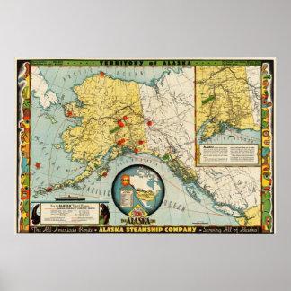 アラスカの汽船会社の(1936年の)地図の再生 ポスター