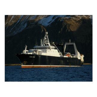 アラスカの海、オランダ港、AKの工場トロール船 ポストカード