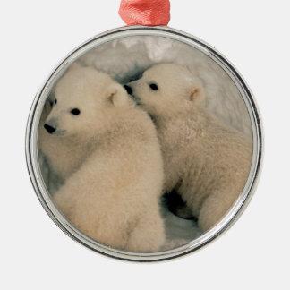 アラスカの白くまカブス メタルオーナメント