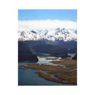 アラスカの空中写真の海、山、空 キャンバスプリント