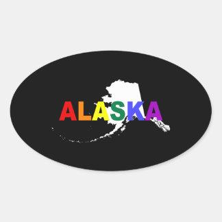 アラスカの虹の国家2 楕円形シール