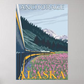 アラスカの鉄道場面-アンカレッジ、アラスカ ポスター