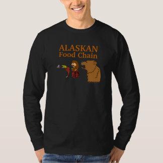 アラスカの食物連鎖のおもしろいなアラスカの記念品のティーの黒 Tシャツ