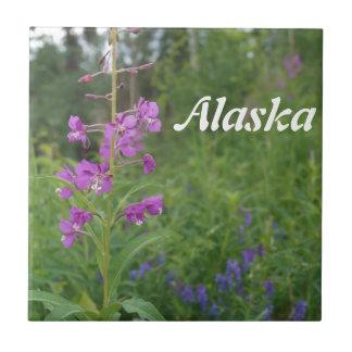 アラスカのFireweedの野生の花 正方形タイル小