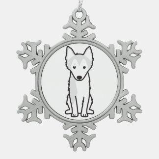 アラスカのKlee Kai犬の漫画 スノーフレークピューターオーナメント