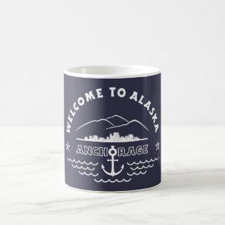 アラスカへようこそ。 アンカレッジ-白いロゴ コーヒーマグカップ