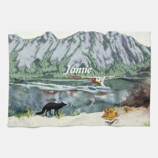 アラスカブッシュの飛行機および魚釣り旅行 キッチンタオル