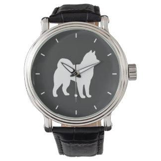 アラスカンマラミュートのシルエット 腕時計