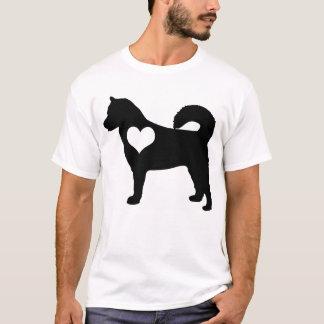アラスカンマラミュートのハートメンズTシャツ Tシャツ