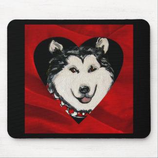 アラスカンマラミュートのバレンタイン マウスパッド