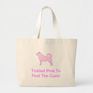 アラスカンマラミュートのピンク犬 ラージトートバッグ
