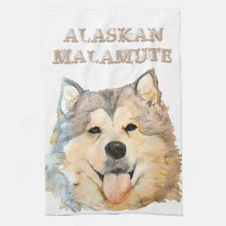 アラスカンマラミュートのポートレート キッチンタオル