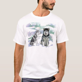 アラスカンマラミュートの冬場面 Tシャツ