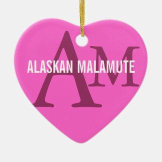アラスカンマラミュートの品種モノグラム セラミックオーナメント